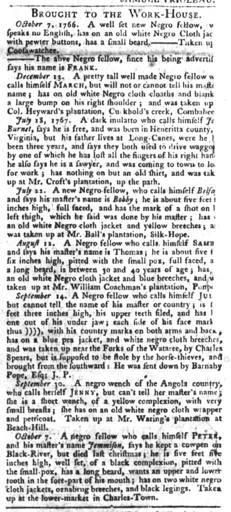 Oct 27 - South-Carolina Gazette and Country Journal Slavery 11