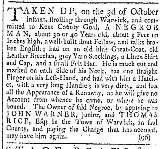 Oct 31 - Providence Gazette Slavery 1