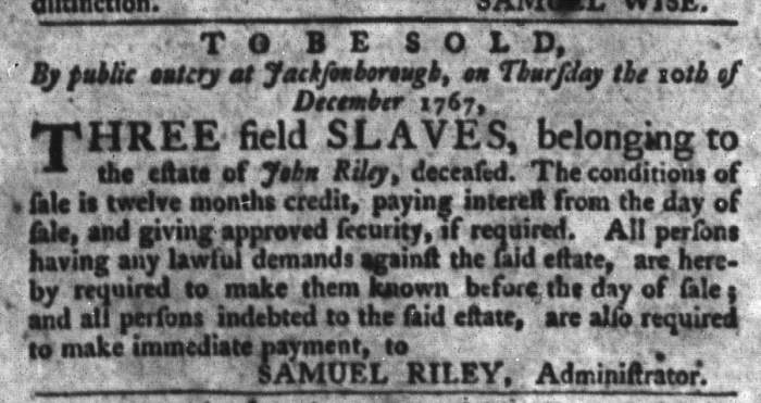 Dec 1 - South-Carolina Gazette and Country Journal Slavery 8