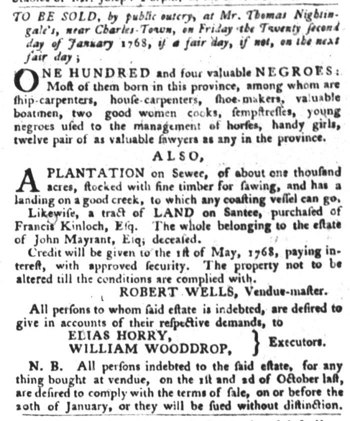 Dec 15 - South-Carolina Gazette and Country Journal Slavery 1