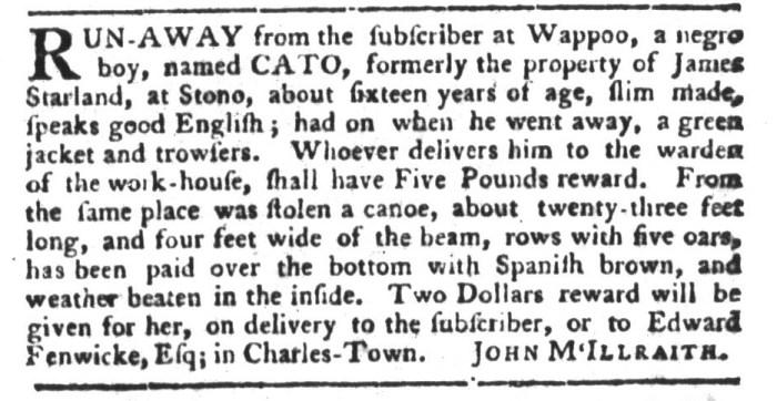 Dec 29 - South-Carolina Gazette and Country Journal Slavery 10