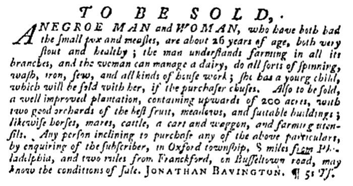 Dec 3 - Pennsylvania Gazette Supplement Slavery 2