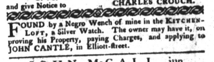 Dec 8 - South-Carolina Gazette and Country Journal Supplement Slavery 4