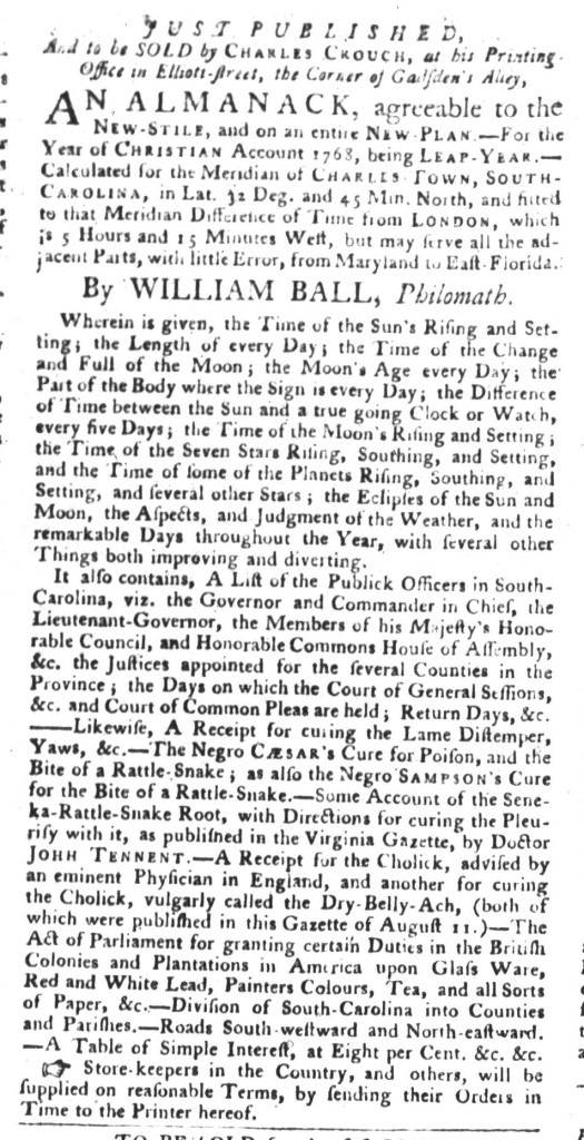 Dec 8 - South-Carolina Gazette and Country Journal Supplement Slavery 7
