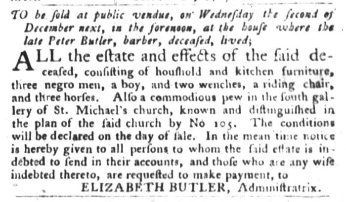 Nov 24 - South-Carolina Gazette and Country Journal Slavery 8