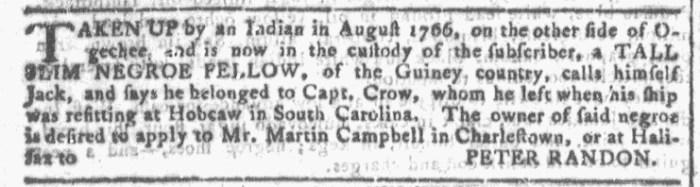 Nov 25 - Georgia Gazette Slavery 1