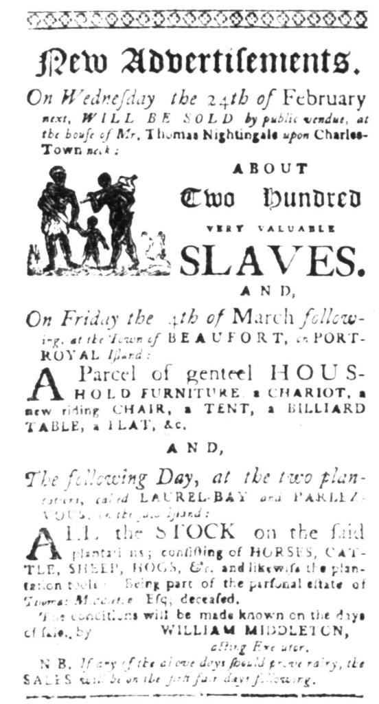 Feb 1 - South Carolina Gazette Slavery 1