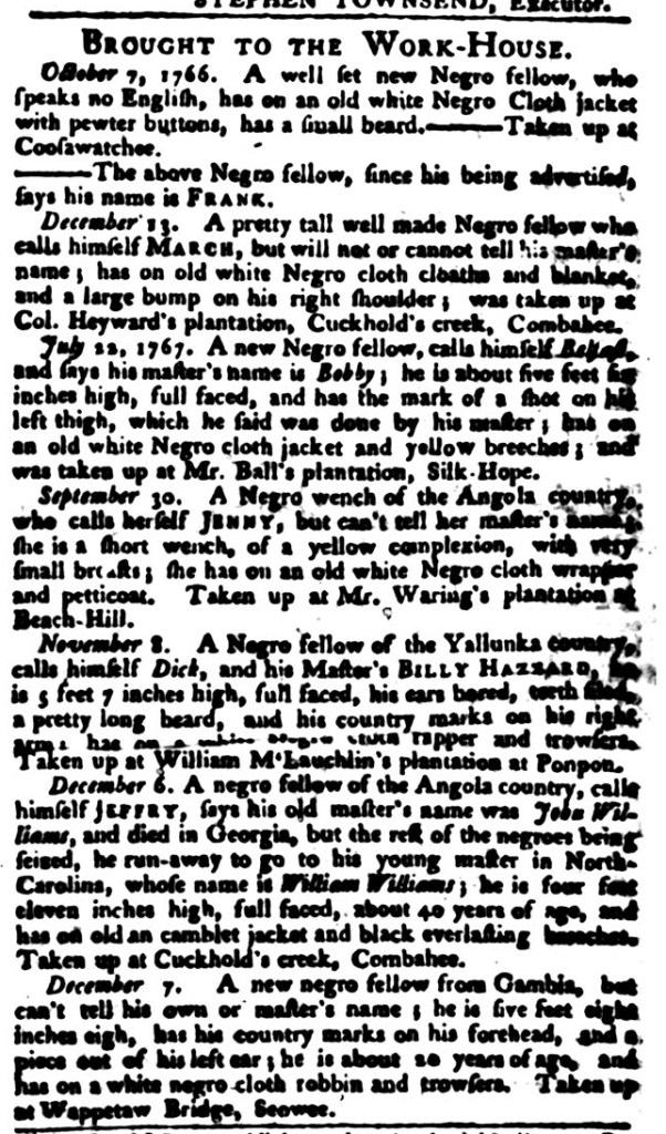 Jan 12 - South-Carolina Gazette and Country Journal Supplement Slavery 8