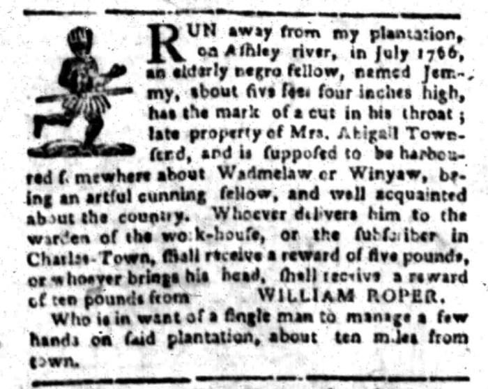Jan 18 - South Carolina Gazette Slavery 1