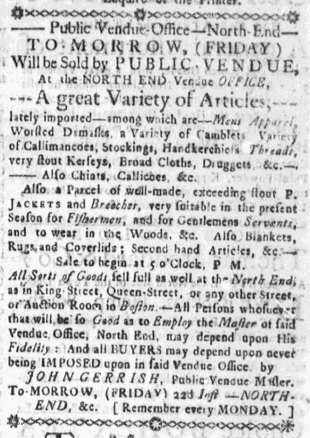 Jan 21 - 1:21:1768 Massachusetts Gazette