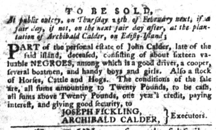Jan 26 - South-Carolina Gazette and Country Journal Supplement Slavery 5