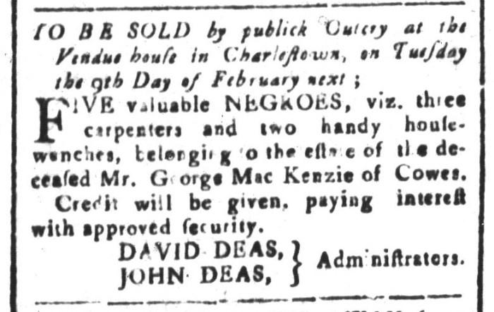 Jan 29 - South-Carolina and American General Gazette Slavery 9