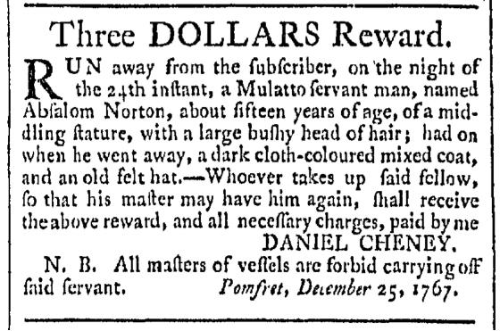 Jan 30 - Providence Gazette Slavery 1
