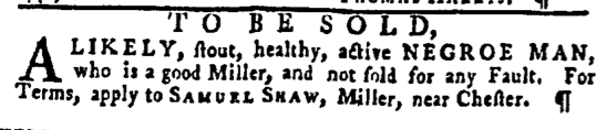 Jan 7 - Pennsylvania Gazette Slavery 1
