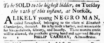 Jan 7 - Virginia Gazette Purdie and Dixon Slavery 1