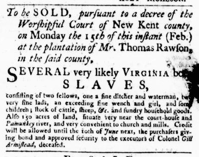 Feb 11 - Virginia Gazette Purdie and Dixon Slavery 6