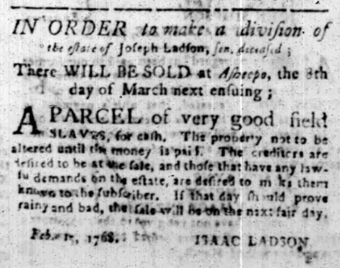 Feb 15 - South Carolina Gazette Slavery 1