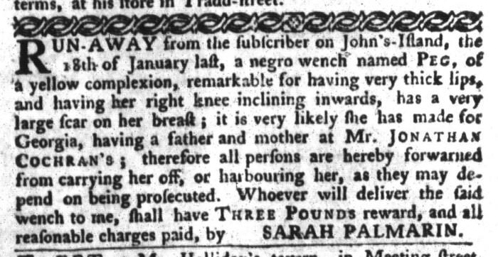 Feb 16 - South-Carolina Gazette and Country Journal Addition Slavery 4