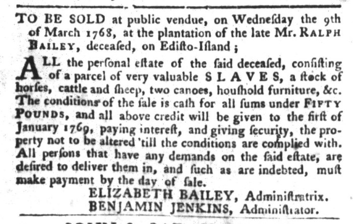 Feb 16 - South-Carolina Gazette and Country Journal Slavery 3