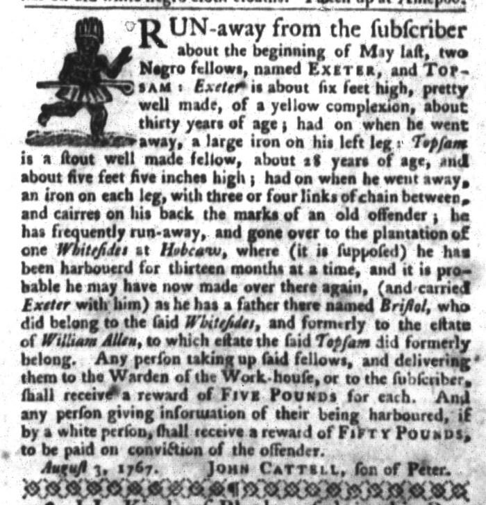 Feb 16 - South-Carolina Gazette and Country Journal Slavery 9