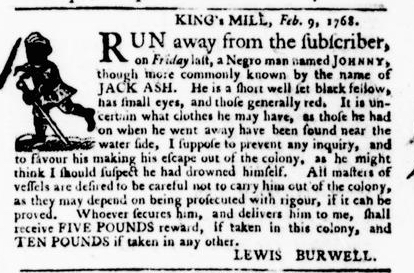 Feb 18 - Virginia Gazette Purdie and Dixon Slavery 3