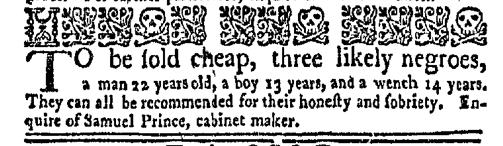 Feb 22 - New-York Gazette Weekly Mercury Slavery 1
