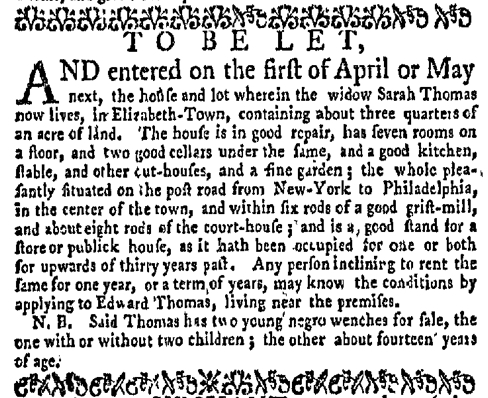Feb 22 - New-York Gazette Weekly Mercury Slavery 2