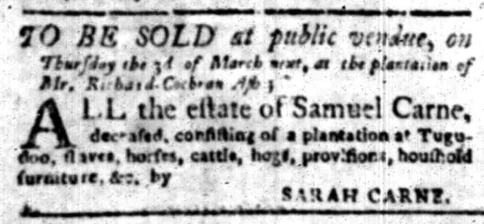 Feb 22 - South Carolina Gazette Slavery 12
