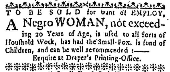 Feb 25 - Massachusetts Gazette Slavery 1