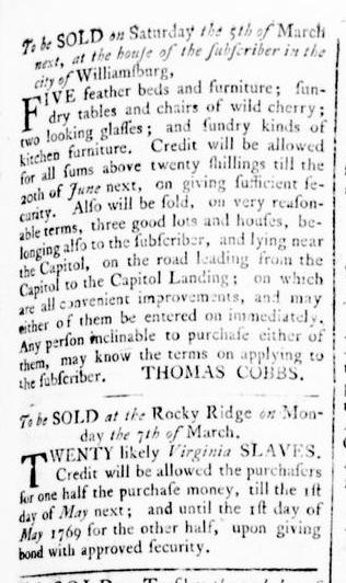 Feb 25 - Virginia Gazette Rind Slavery 1