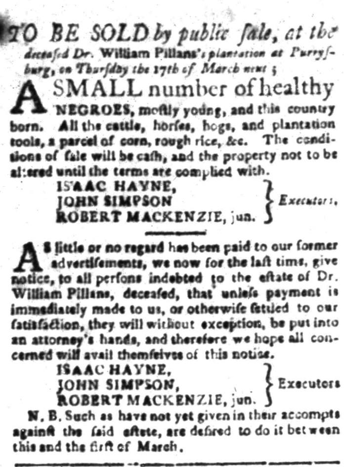 Feb 29 - South Carolina Gazette Supplement Slavery 2