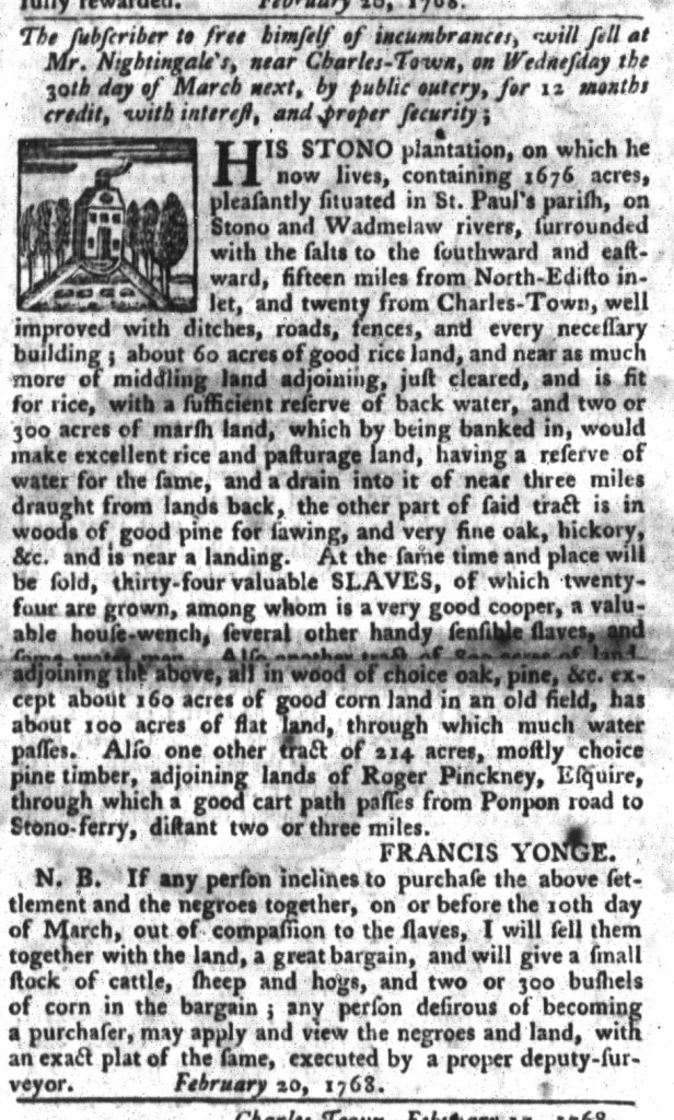 Mar 1 - South-Carolina Gazette and Country Journal Slavery 6