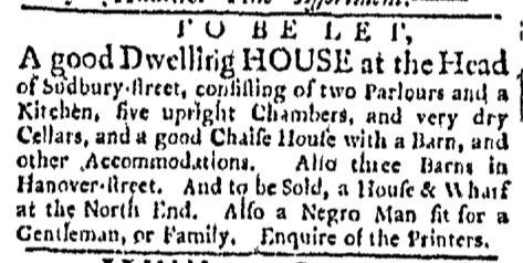 Mar 7 - Boston Evening-Post Slavery 1