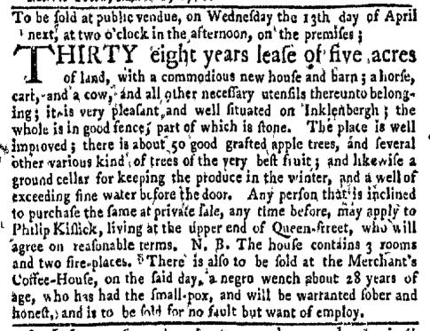 Apr 4 - New-York Gazette Weekly Mercury Slavery 2