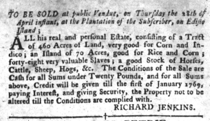 Apr 5 - South-Carolina Gazette and Country Journal Slavery 4