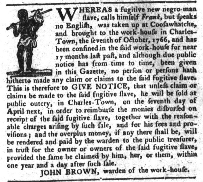 Apr 5 - South-Carolina Gazette and Country Journal Slavery 5