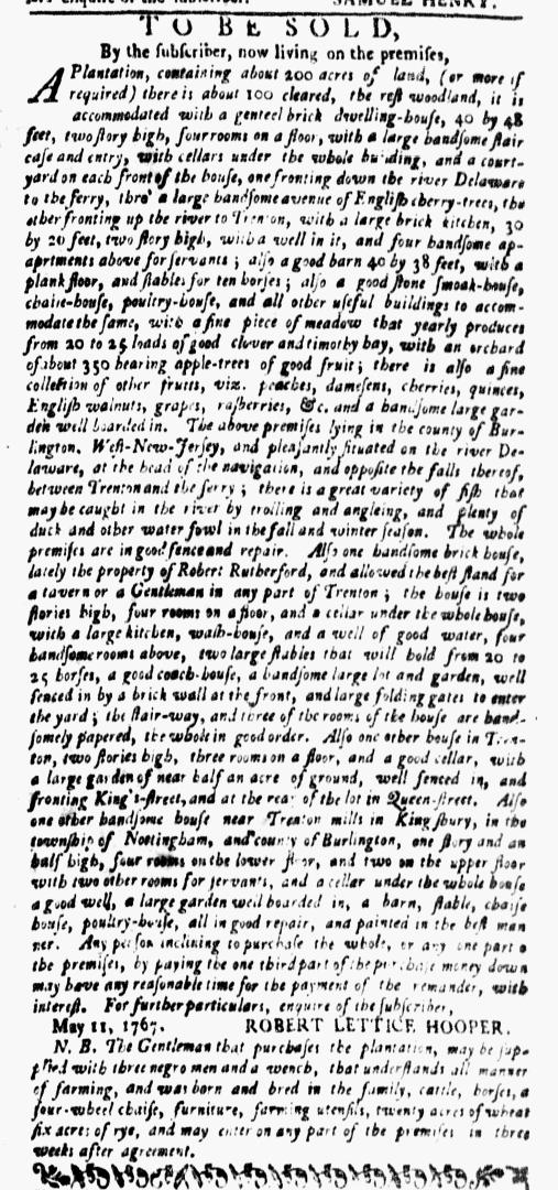 Mar 14 - New-York Gazette Weekly Mercury Supplement Slavery 2
