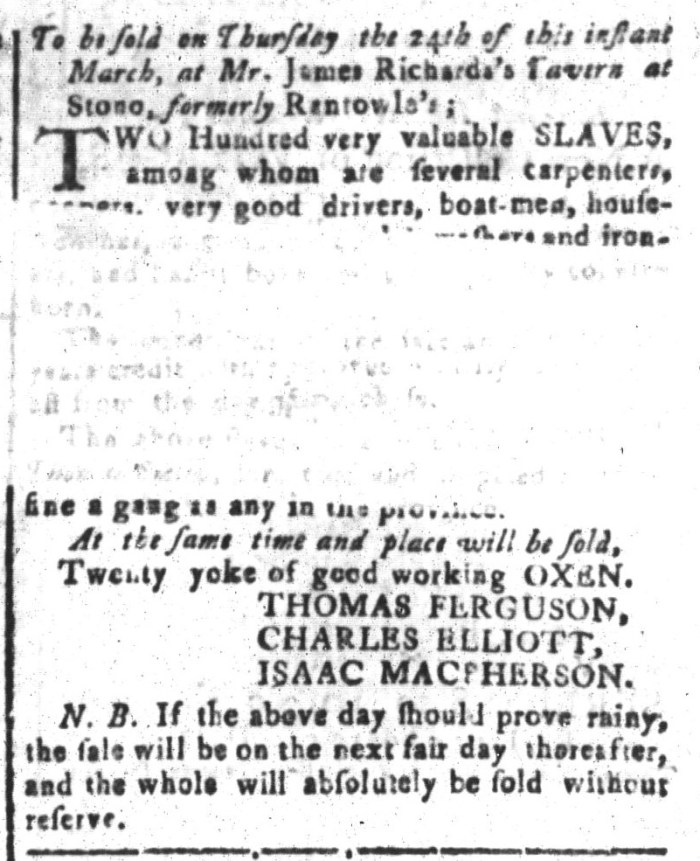 Mar 18 - South-Carolina and American General Gazette Slavery 15