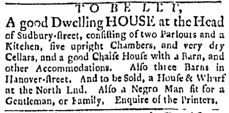 Mar 21 - Boston Evening-Post Slavery 1