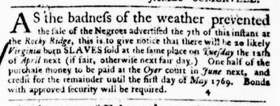 Mar 24 - Virginia Gazette Purdie and Dixon Slavery 1