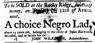 Mar 31 - Virginia Gazette Purdie and Dixon Slavery 1
