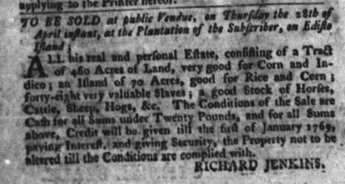 Apr 12 - South-Carolina Gazette and Country Journal Slavery 8