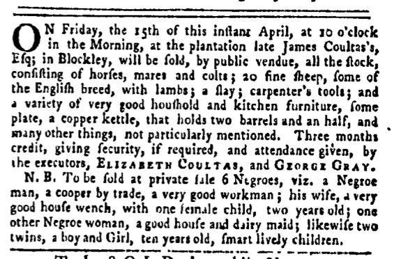 Apr 14 - Pennsylvania Gazette Slavery 1