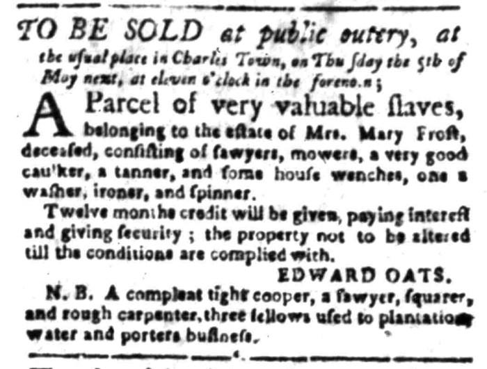 Apr 18 - South Carolina Gazette Slavery 10