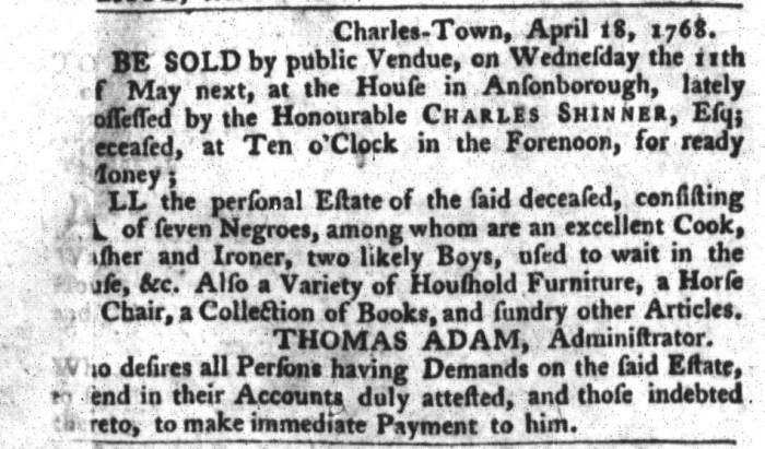 Apr 19 - South-Carolina Gazette and Country Journal Slavery 2