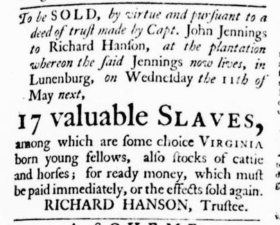 Apr 28 - Virginia Gazette Purdie and Dixon Slavery 2