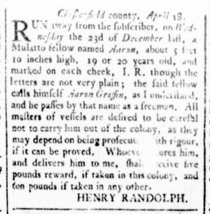 Apr 28 - Virginia Gazette Rind Slavery 3