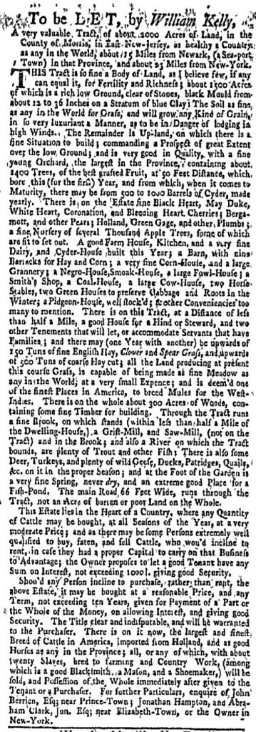 May 2 - New-York Gazette Weekly Mercury Supplement Slavery 2