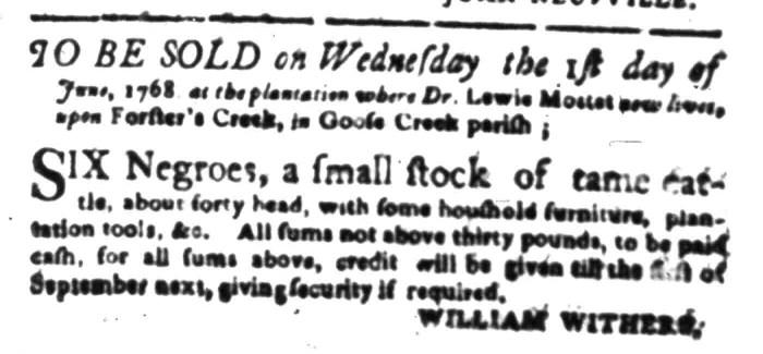 May 2 - South-Carolina Gazette Slavery 1