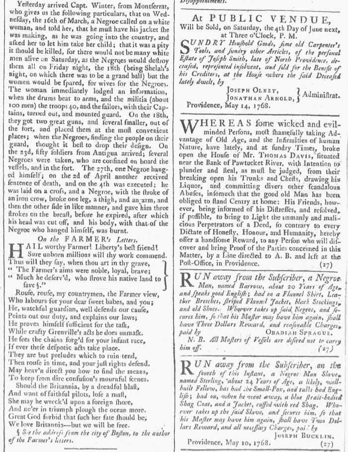 May 14 - Slave Revolt 5:14:1768 Providence Gazette